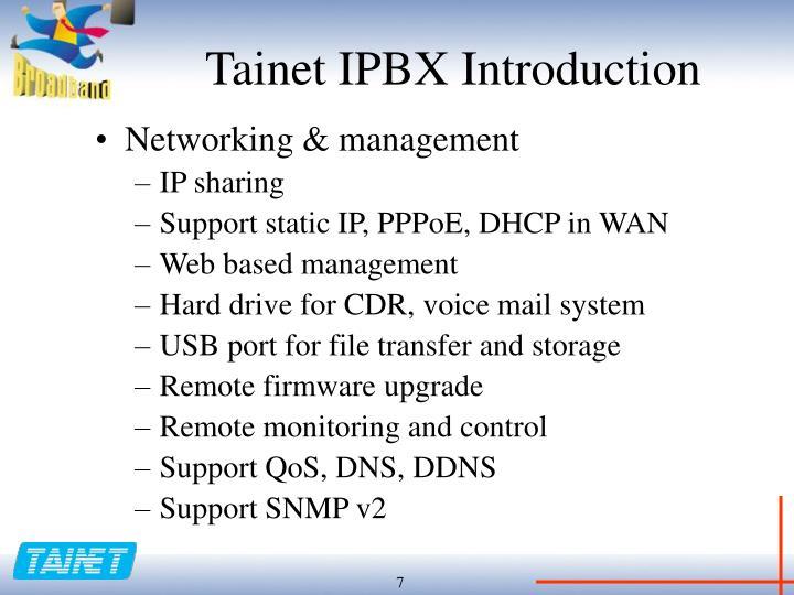 Tainet IPBX Introduction