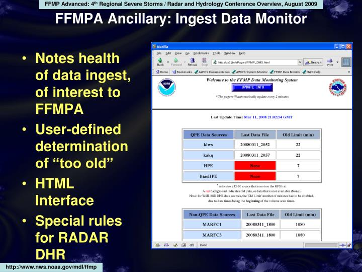 Notes health of data ingest, of interest to FFMPA