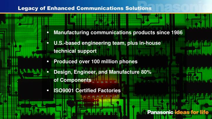 Legacy of Enhanced Communications Solutions