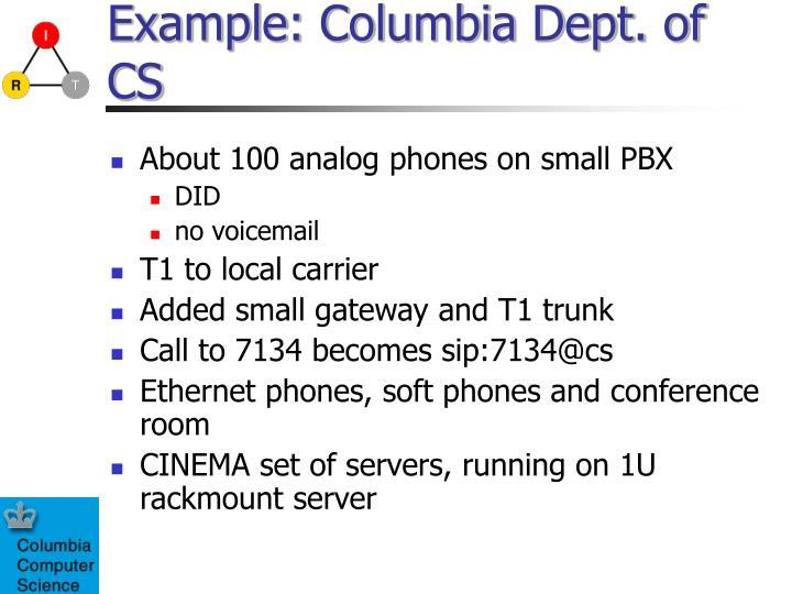 Example: Columbia Dept. of CS