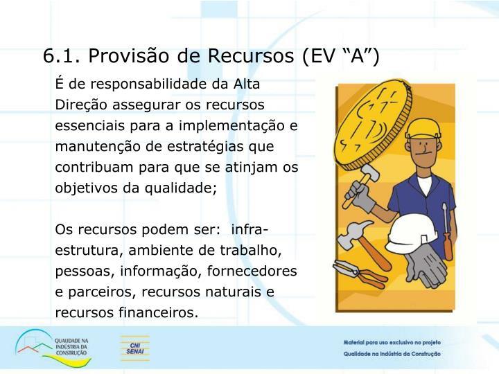 6.1. Provisão de Recursos