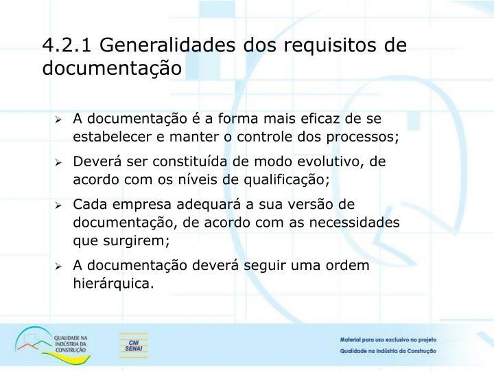 4.2.1 Generalidades dos requisitos de documentação