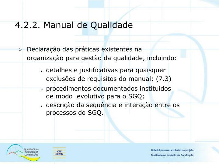 4.2.2. Manual de Qualidade