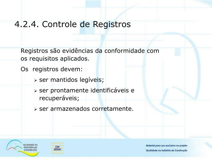 4.2.4. Controle de Registros