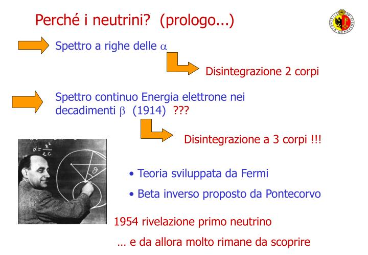 Perché i neutrini?  (prologo...)