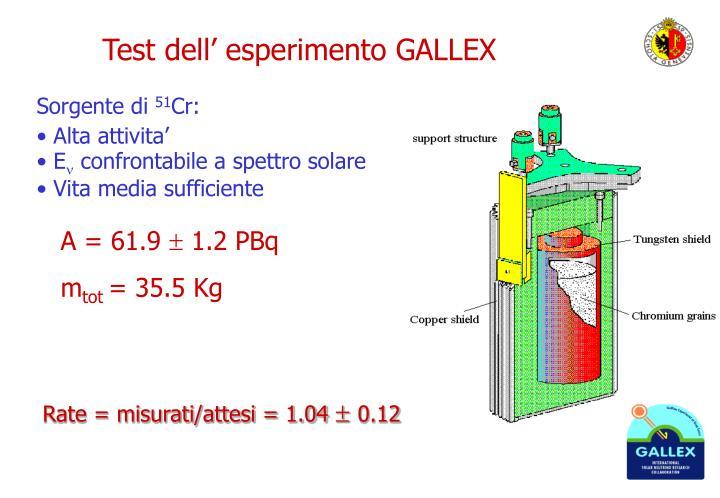 Test dell' esperimento GALLEX