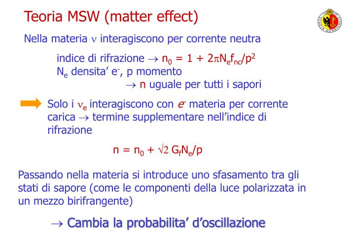 Teoria MSW (matter effect)