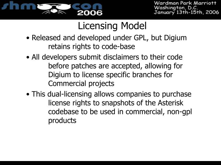 Licensing Model