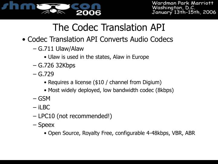 The Codec Translation API