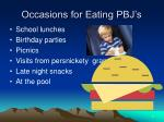 occasions for eating pbj s