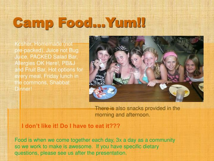Camp Food…Yum!!