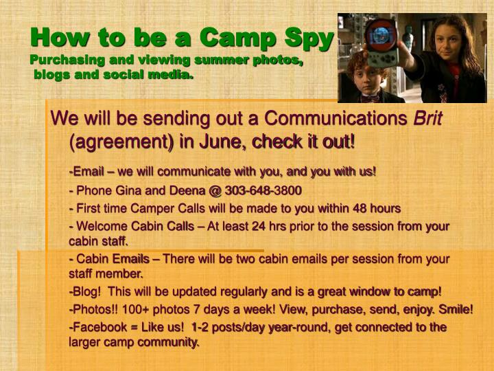 How to be a Camp Spy