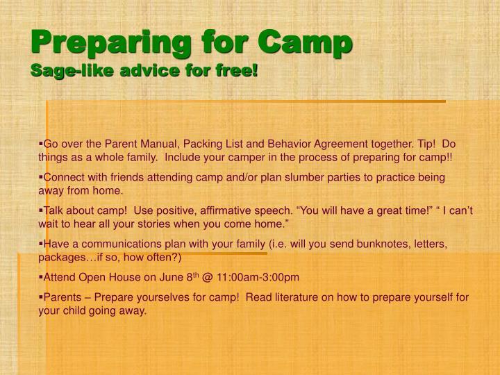 Preparing for Camp