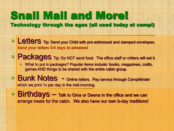 Snail Mail and More!