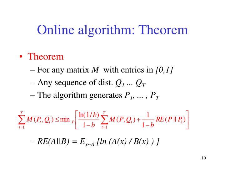 Online algorithm: Theorem
