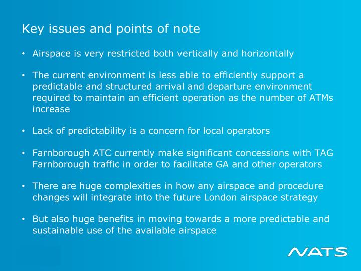 Key issues and points of note