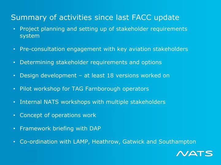 Summary of activities since last FACC update