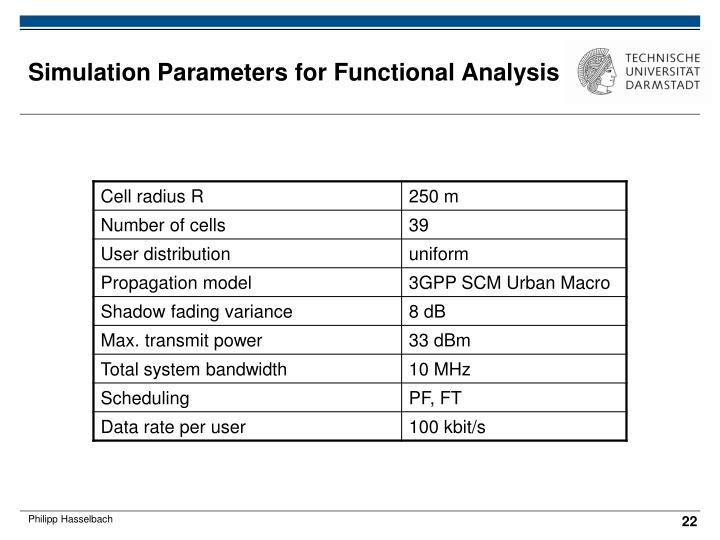 Simulation Parameters for Functional Analysis