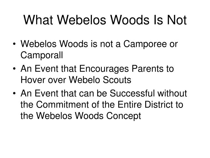 What Webelos Woods Is Not