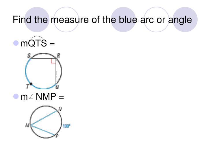 Find the measure of the blue arc or angle