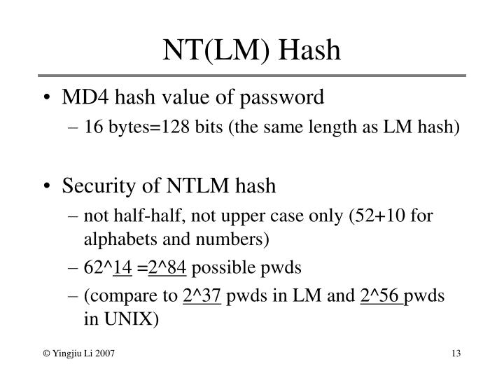 NT(LM) Hash