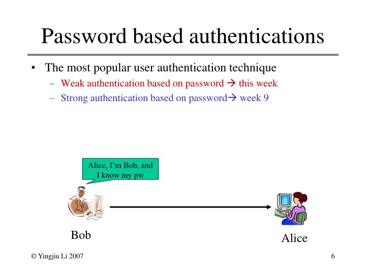 Password based authentications