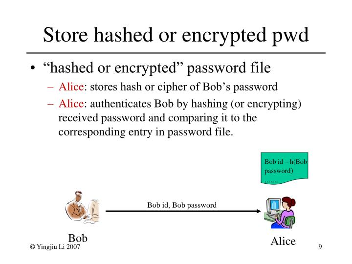 Store hashed or encrypted pwd