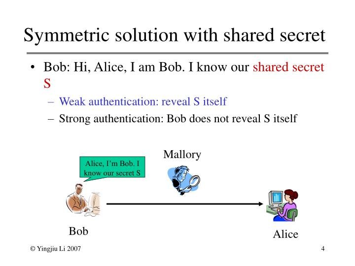 Symmetric solution with shared secret