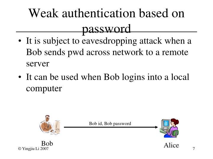 Weak authentication based on password