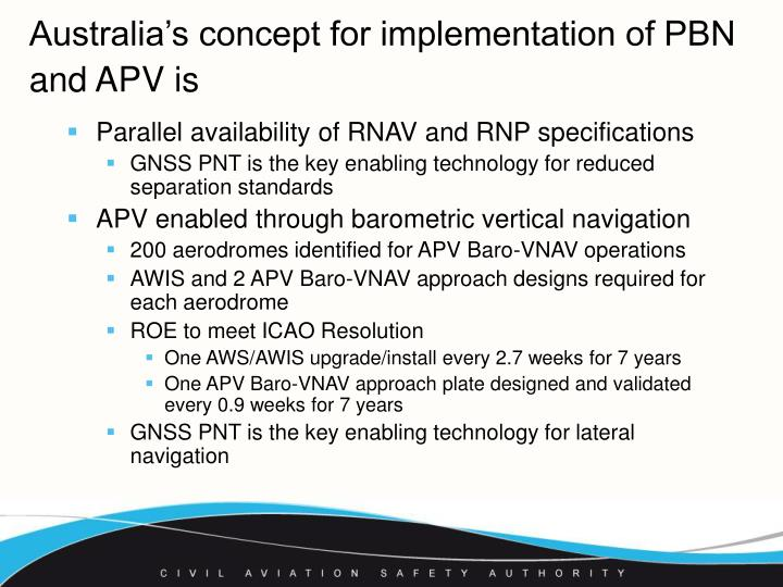 Australia's concept for implementation of PBN and APV is