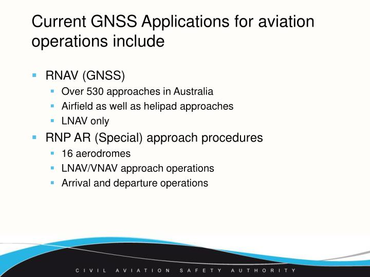 Current gnss applications for aviation operations include