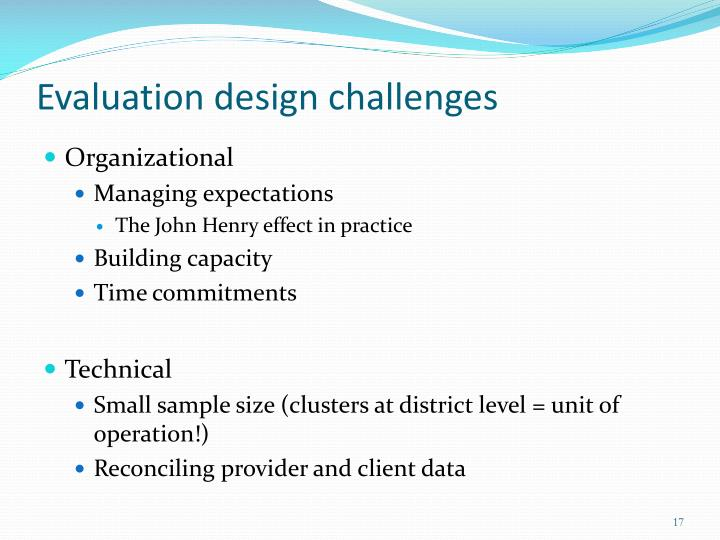 Evaluation design challenges