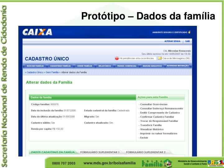 Protótipo – Dados da família