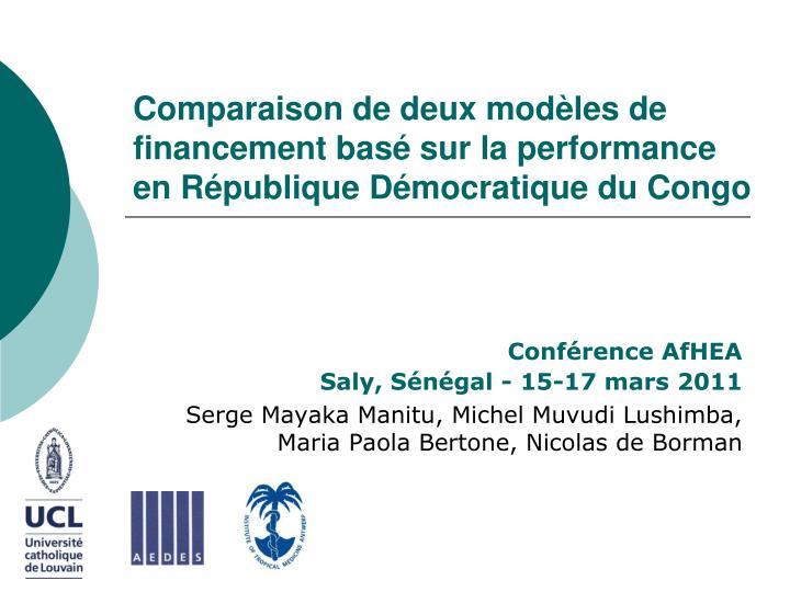 Comparaison de deux modèles de financement basé sur la performance   en République Démocratique du Congo