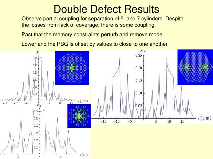 Double Defect Results