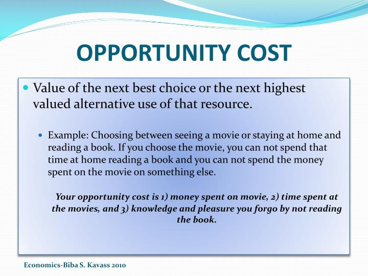 OPPORTUNITY COST