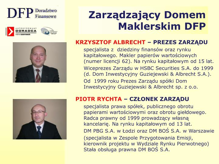Zarządzający Domem Maklerskim DFP