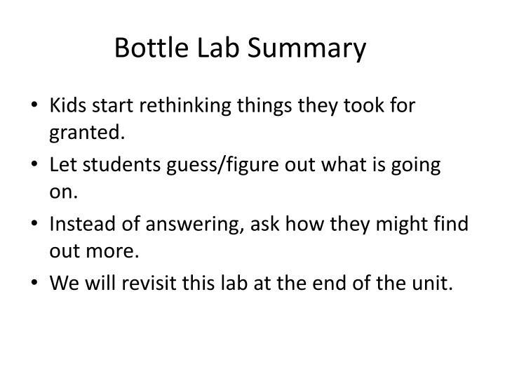 Bottle Lab Summary