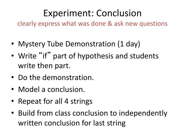 Experiment: Conclusion