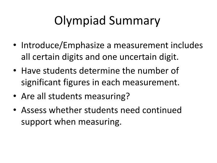 Olympiad Summary