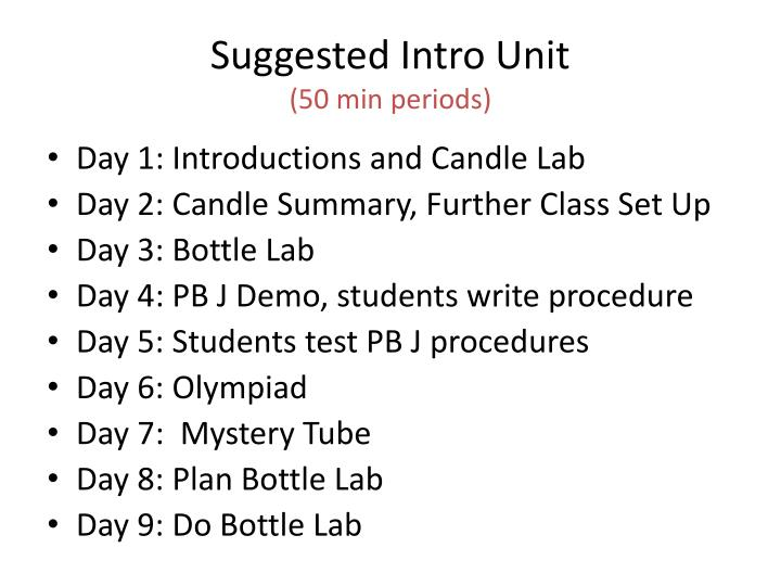 Suggested Intro Unit
