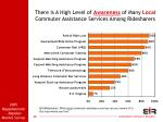 there is a high level of awareness of many local commuter assistance services among ridesharers