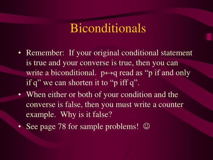 Biconditionals