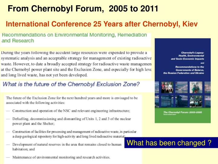 From Chernobyl Forum,  2005 to 2011