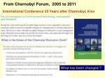 from chernobyl forum 2005 to 2011