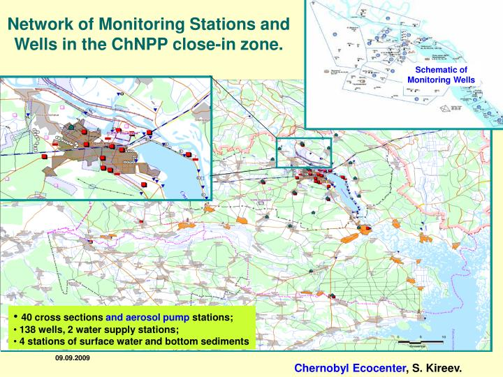 Network of Monitoring Stations and Wells in the ChNPP close-in zone.