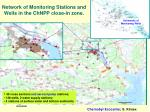 network of monitoring stations and wells in the chnpp close in zone