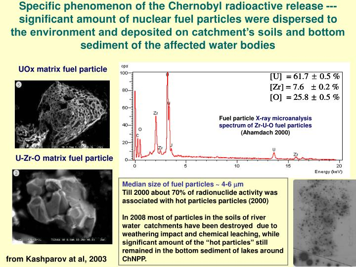 Specific phenomenon of the Chernobyl radioactive release --- significant amount of nuclear fuel particles were dispersed to the environment and deposited on catchment's soils and bottom sediment of the affected water bodies