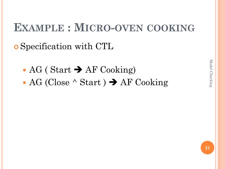 Example : Micro-oven cooking