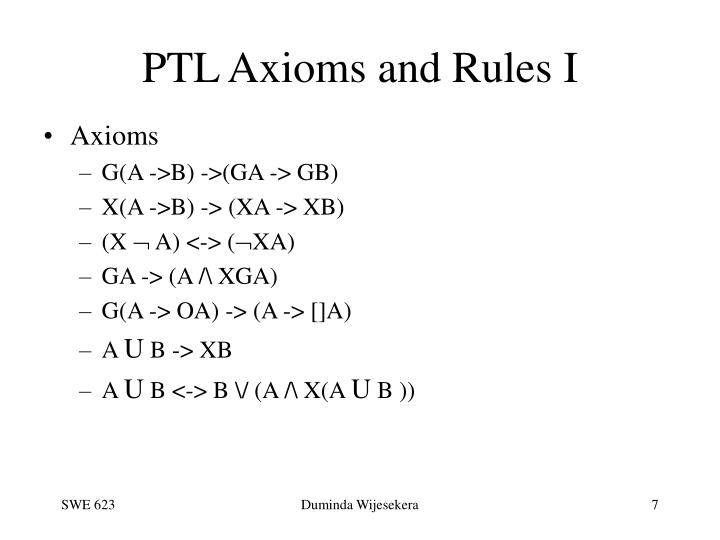 PTL Axioms and Rules I